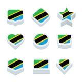 Le icone ed il bottone delle bandiere della Tanzania hanno fissato nove stili Immagini Stock Libere da Diritti