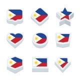 Le icone ed il bottone delle bandiere delle Filippine hanno fissato nove stili Immagini Stock Libere da Diritti