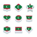 Le icone ed il bottone delle bandiere delle Maldive hanno fissato nove stili Immagini Stock