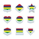 Le icone ed il bottone delle bandiere delle Mauritius hanno fissato nove stili Fotografie Stock