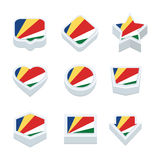 Le icone ed il bottone delle bandiere delle Seychelles hanno fissato nove stili Immagine Stock Libera da Diritti