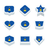 Le icone ed il bottone delle bandiere dello St Lucia hanno fissato nove stili Fotografia Stock Libera da Diritti