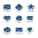 Le icone ed il bottone delle bandiere di isole Salomone hanno fissato nove stili Immagine Stock Libera da Diritti