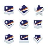 Le icone ed il bottone delle bandiere di Marshall Islands hanno fissato nove stili Immagini Stock