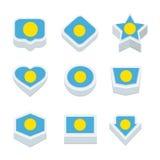 Le icone ed il bottone delle bandiere di Palau hanno fissato nove stili Immagini Stock