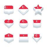 Le icone ed il bottone delle bandiere di Singapore hanno fissato nove stili Immagine Stock Libera da Diritti