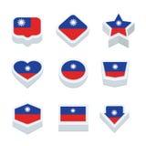 Le icone ed il bottone delle bandiere di Taiwan hanno fissato nove stili Immagine Stock Libera da Diritti