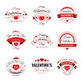 Le icone felici dei biglietti di S. Valentino del cuore di vettore di Valentine Day per la cartolina d'auguri progettano il model Immagini Stock