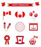 Le icone felici del giorno del Canada hanno messo, elementi di progettazione, stile piano 1° luglio festa nazionale della raccolt Immagine Stock