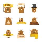 Le icone felici di logo di giorno della marmotta hanno messo, stile piano Fotografia Stock