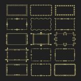 Le icone floreali dorate dell'emblema delle strutture di rettangolo hanno messo su fondo nero Fotografie Stock