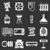 Le icone fresche degli strumenti del flusso d'aria del calore hanno fissato il vettore grigio illustrazione di stock