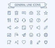 Le icone generali di vettore hanno messo 2 Linea sottile griglia del profilo 24x24 Pixel perfetto Fotografie Stock