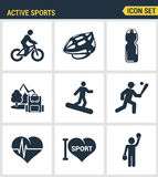 Le icone hanno fissato la qualità premio dell'icona di vettore dello sportivo di amore di sport dell'attivo Stile piano di proget Fotografia Stock Libera da Diritti