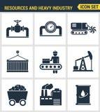 Le icone hanno fissato la qualità premio di industria pesante, centrale elettrica, estraente le risorse Simbolo piano c di stile  Immagine Stock