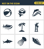 Le icone hanno fissato la qualità premio di resto sull'estate di festa della ricreazione di viaggio di nuoto dell'oceano Progetta Fotografia Stock Libera da Diritti