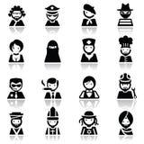 Le icone hanno impostato i fronti della gente Fotografia Stock Libera da Diritti