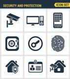 Le icone hanno messo di qualità premio di vari oggetti di sicurezza, informazioni e sistema di protezione dei dati Immagini Stock Libere da Diritti