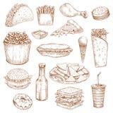 Le icone il pasto, spuntini di vettore di schizzo degli alimenti a rapida preparazione, beve illustrazione di stock