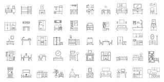 Le icone interne degli oggetti della stanza fissano, descrivono lo stile illustrazione di stock