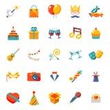 Le icone isolate d'avanguardia moderne piane hanno messo il regalo, partito illustrazione vettoriale