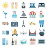 Le icone isolate vettore di colore di giro e di viaggio consiste con il sole, il Flip-flop, la scala, il negozio, il taxi, il cal royalty illustrazione gratis