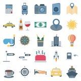 Le icone isolate vettore di colore di giro e di viaggio consiste con la macchina fotografica, l'automobile, la bevanda, il sole,  royalty illustrazione gratis