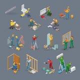 Le icone isometriche della riparazione domestica hanno messo con i lavoratori, strumenti illustrazione di stock