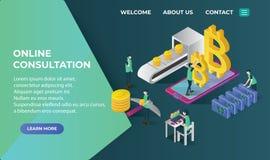 Le icone isometriche di Bitcoin con il concetto del blockchain di ico, il bitcoin sicuro, estrazione mineraria di cryptocurrency, Illustrazione di Stock