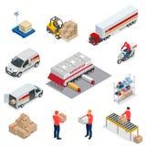 Le icone isometriche di logistica hanno messo dei veicoli differenti di distribuzione del trasporto, elementi della consegna Veic royalty illustrazione gratis