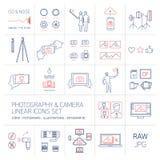 Le icone lineari della macchina fotografica e di fotografia hanno fissato il blu ed il rosso Immagine Stock