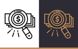 Le icone lineari di vettore CERCANO I SOLDI di finanza, contare Alto quali Fotografia Stock Libera da Diritti