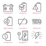 Le icone lineari di vettore hanno messo con la batteria ed il tema di eco-energia per il infographics e UX Fotografia Stock Libera da Diritti