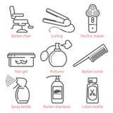 Le icone lineari di vettore hanno messo con le attrezzature e gli accessori del barbiere per il infographics e UX Fotografia Stock