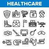 Le icone lineari di vettore di sanità hanno messo il pittogramma sottile illustrazione vettoriale