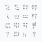 Le icone lineari di web di vettore mettono - cabli il computer del cavo royalty illustrazione gratis