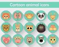 Le icone lineari piane degli animali domestici, degli animali della foresta e degli zoo sono isolate in un cerchio Immagine Stock Libera da Diritti