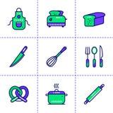Le icone lineari uniche hanno messo del forno, cucinando Alta qualità moderna Fotografia Stock Libera da Diritti