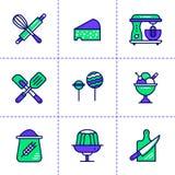 Le icone lineari uniche hanno messo del forno, cucinando Alta qualità moderna Fotografie Stock Libere da Diritti