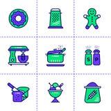 Le icone lineari uniche hanno messo del forno, cucinando Alta qualità moderna Immagine Stock