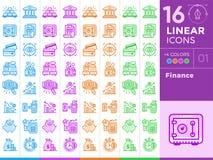Le icone lineari uniche hanno messo di finanza, contando Con il colo differente Fotografia Stock Libera da Diritti
