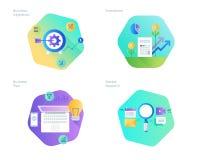 Le icone materiali di progettazione hanno messo per il business plan e gli obiettivi, la ricerca di mercato, investimento Immagini Stock