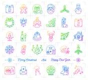 Le icone mega di Natale hanno messo, linea d'avanguardia progettazione minima di pendenza dell'icona Fotografia Stock Libera da Diritti