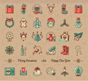 Le icone mega di Natale hanno messo, simboli di vacanza invernale, retro stile d'annata Fotografia Stock