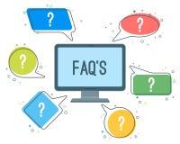 Le icone minimalistic di servizio del FAQ con i punti interrogativi nel discorso si appanna illustrazione di stock