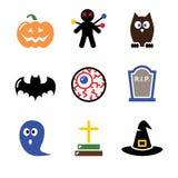 Le icone nere di Halloween hanno impostato - la zucca, la strega, fantasma Fotografie Stock Libere da Diritti