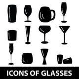 Le icone nere di vetro hanno messo eps10 Illustrazione di Stock