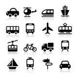 Il trasporto, icone di viaggio messe isoalted su bianco Fotografia Stock