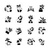 Le icone nere stabilite del regalo è danno Immagine Stock