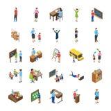 Le icone piane degli studenti universitari e dell'istituto universitario imballano illustrazione vettoriale
